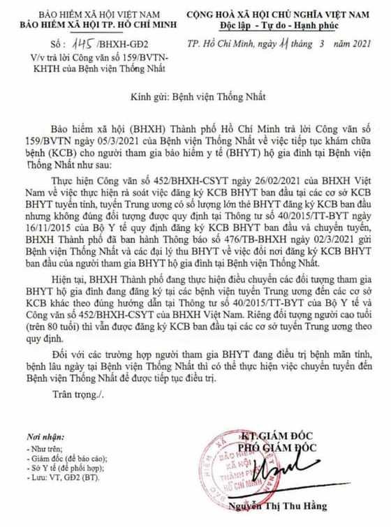 Bệnh viện Thống Nhất lý giải về nguyện vọng tiếp tục đăng ký BHYT tại bệnh viện